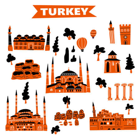 Vector illustration of different turkish attractions and landmarks Ilustração