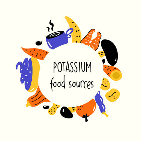 Potassium food sources. Vector cartoon illustration of potassium rich foods