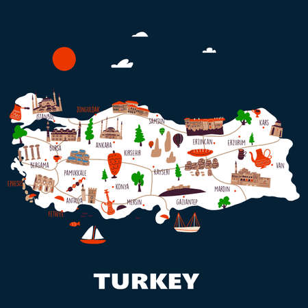 Stylezed map of Turkey with different attractions and symbols. Vector illustration.
