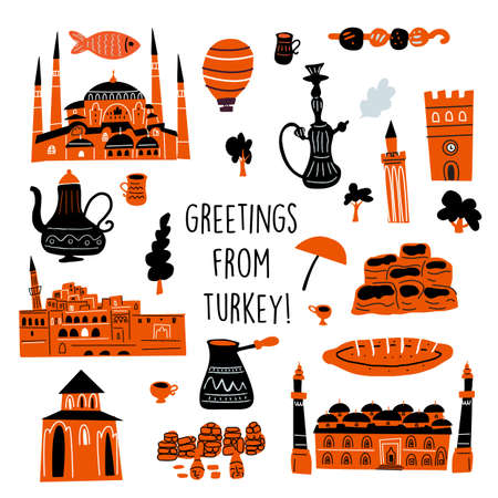 Vector illustration of different turkish attractions and symbols of turkish culture. Ilustração