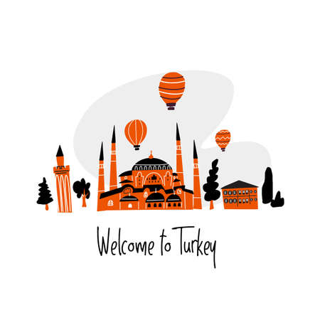 Vector cartoon illustration of turkish mosque, minaret and house. Welcome sign
