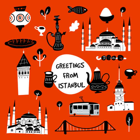 Greetings from Istanbul. Funny vector illustration of Istanbul attractions and landmarks. Ilustração
