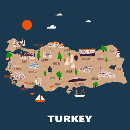 Vector illustrated map of Turkey with different attractions Ilustração