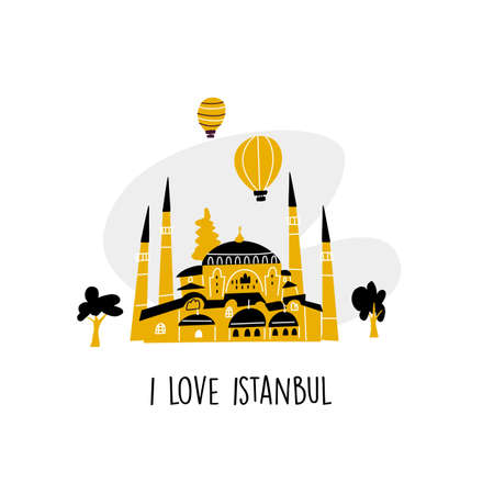 I love Istanbul. Vector cartoon illustration of turkish mosque, trees and air ballons. Ilustração