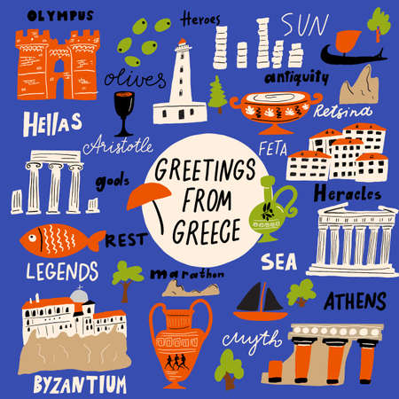 Vector illustration of different attractions, landmarks and names of Greek symbols. Greeting from Greece Ilustrace