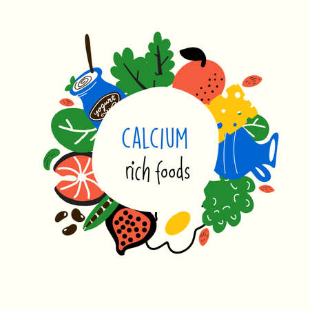 Calcium food sources. Vector cartoon illustration of iron rich foods Ilustração