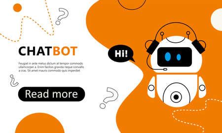 Chatbot web banner, landing page concept. Vector illustration Illustration