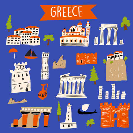 Vector illustration of different attractions and landmarks of Greece Ilustração