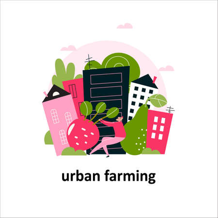 Vector illustration of cityscape and man pulling a big beet root. Urban farming concept