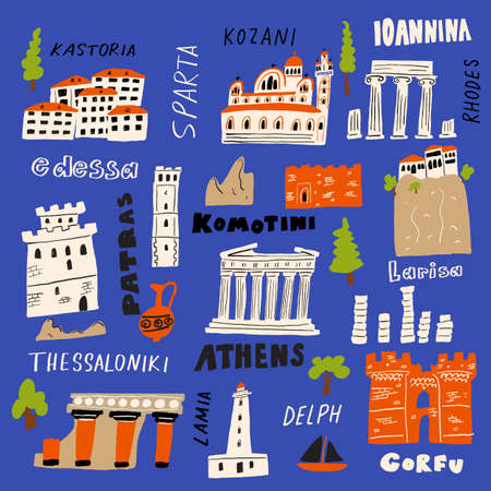 Vector illustration of different attractions and landmarks of Greece with city names