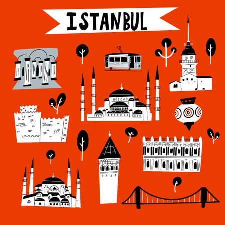 Istanbul. Funny vector illustration of Istanbul attractions and landmarks.