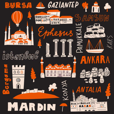 Turkey hand drawn vector illustration with tourist attractions, symbols and names of cities. Ilustrace