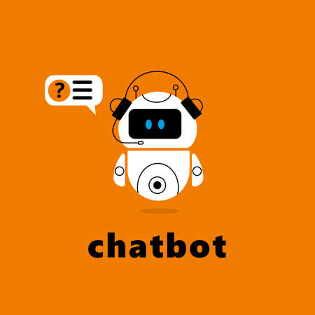 Vector illustration of chatbot with speech bubble. Ilustração
