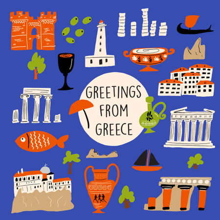 Vector illustration of different attractions, landmarks and symbols of Greece. Greeting from Greece. Ilustrace