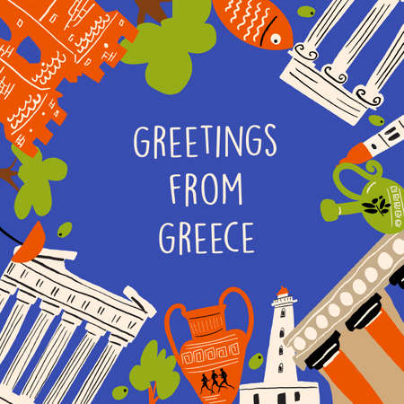 Vector illustration of different attractions, landmarks and symbols of Greece. Greeting from Greece. Poster, banner