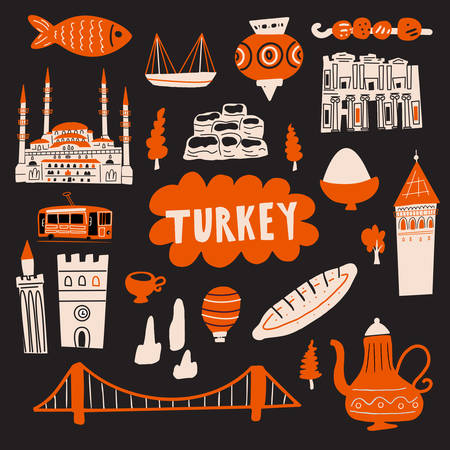 Turkey hand drawn vector illustration with tourist attractions, symbols and landmarks