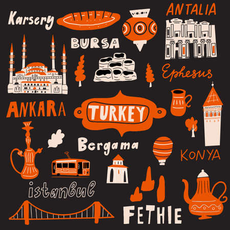 Funny hsnd drawn vector illustration of different Turkish attractions, cultural symbols and name of cities