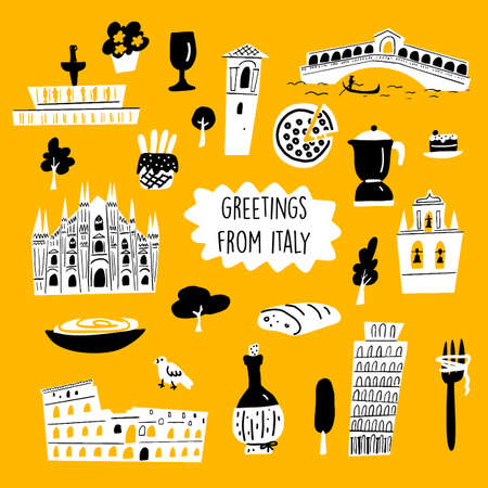 Vector cartoon illustration of italian architecture, tourist attractions and cultural symbols.