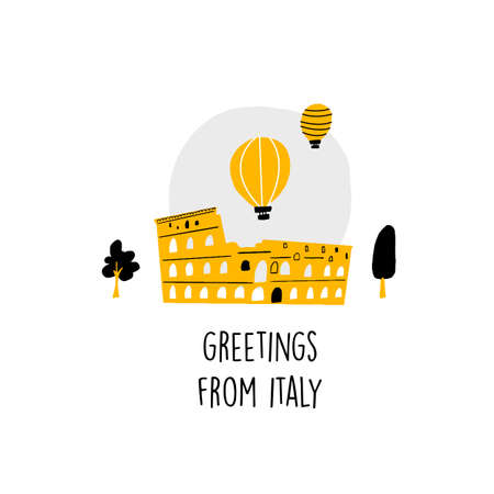 Coliseum of Rome. Famous italian attractions. Vector illustration in doodle style. Greetings fromItaly. Greeting card, poster, banner.