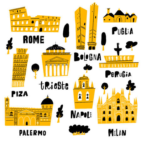 Italian city architecture and main tourist attractions. Ilustracja