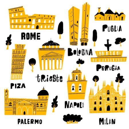 Italian city architecture and main tourist attractions. Illustration