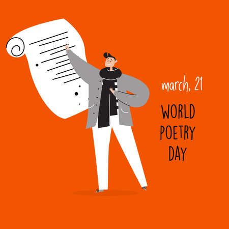 World poetry day, march 21. Vector illustration of man reciting a poem. Imagens - 139758702