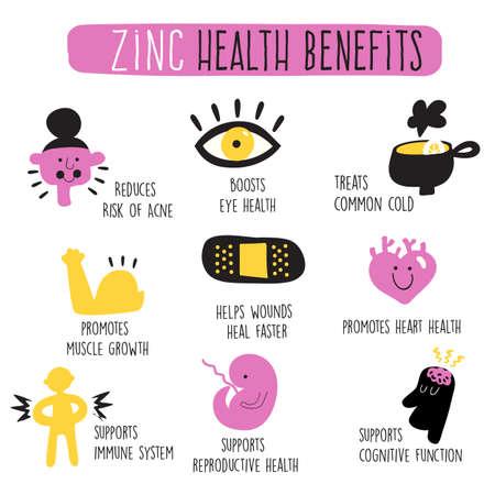 Zinc health benefits. Infographics. Vector cartoon illustration Ilustração