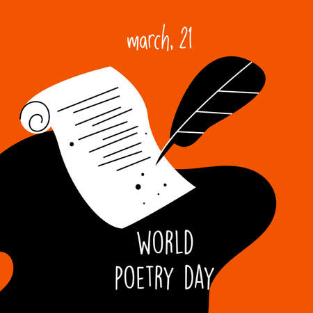 World poetry day, march 21.Vector illustration of feathe, manuscript and ink. Imagens - 139762420