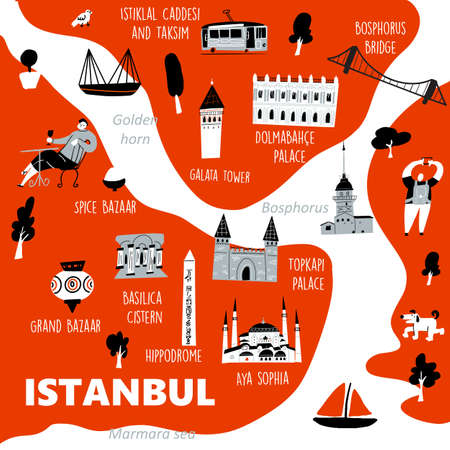 Istanbul stylized map with main tourists attractions and cultural symbols Ilustração