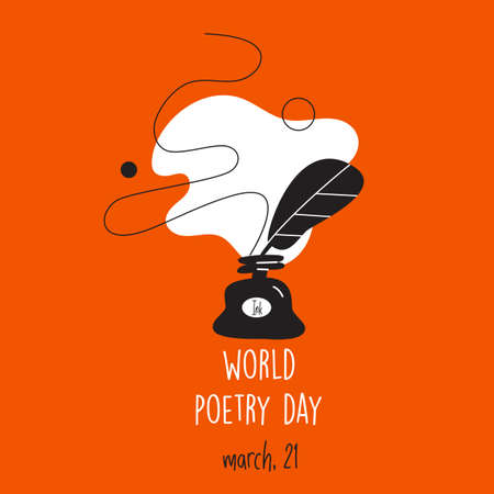 World poetry day, march 21. Vector illustration of inkwell and feather. Modern desugn,