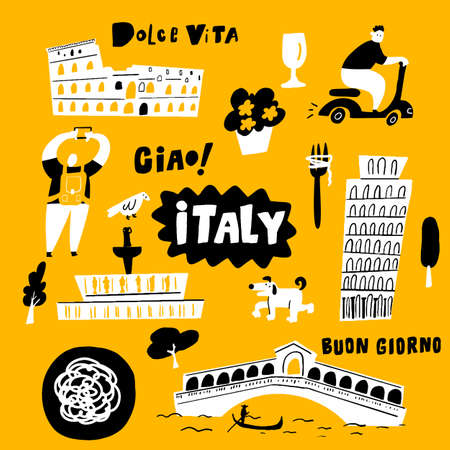 doodle illustration of main italian attractions and cultural symbols.
