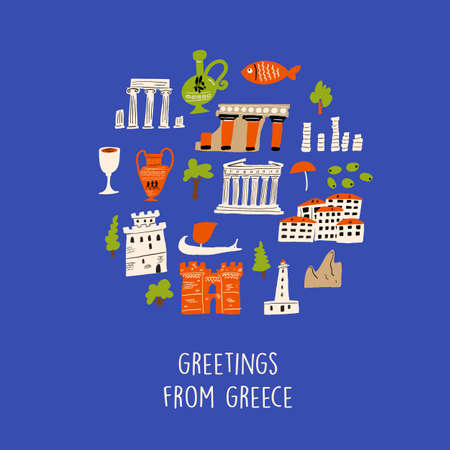 Vector illustration of different attractions, landmarks and symbols of Greece. Greeting from Greece. Composition in circle Ilustração