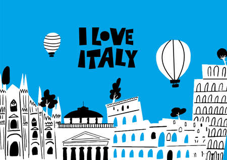Vector illustration of famous italian architecture and attractions I love Italy. Horizontal greeting card.