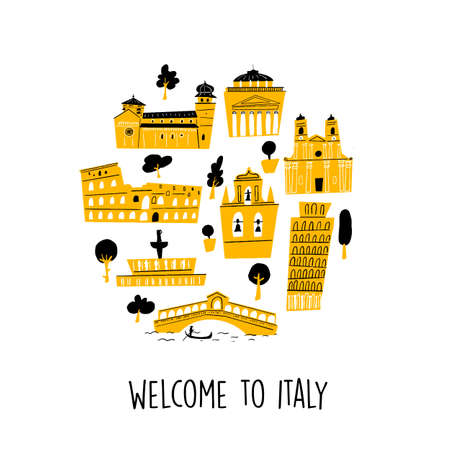 Vector illustration of famous italian attractions and landmarks in circle. Welcome sign.