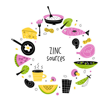 Zinc rich foods. Vector flat cartoon illustrationin circle Ilustração
