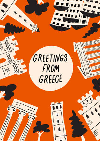 Vector illustration of different attractions, landmarks and symbols of Greece. Greeting from Greece. Vertical greeting card.
