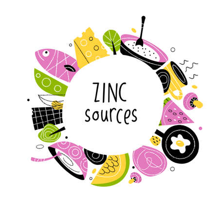 Zinc food sources. Vector cartoon illustration of zinc rich foods