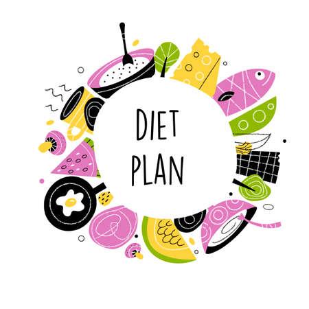 Diet plan. Vector illustration of healthy food Ilustração
