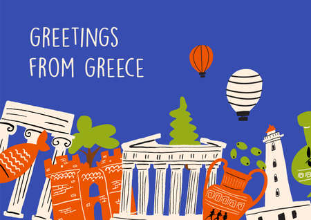 Vector illustration of different attractions, landmarks and symbols of Greece. Greeting from Greece. Horizontal greeting card. Illustration