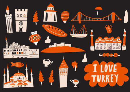 Turkey hand drawn vector illustration with tourist attractions, symbols and landmarks. I love Turkey. Horizontal greeting card.