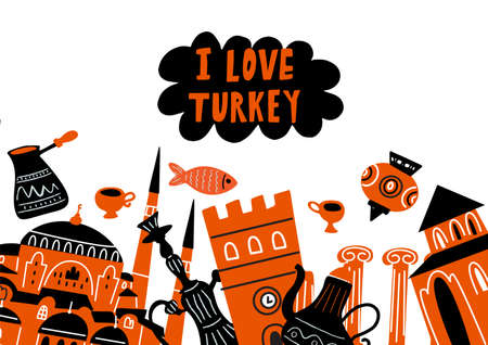 Vector illustration of Turkish famous attractions, architecture and symbols. Horizontal postcard. I love Turkey inscription Imagens - 145698323