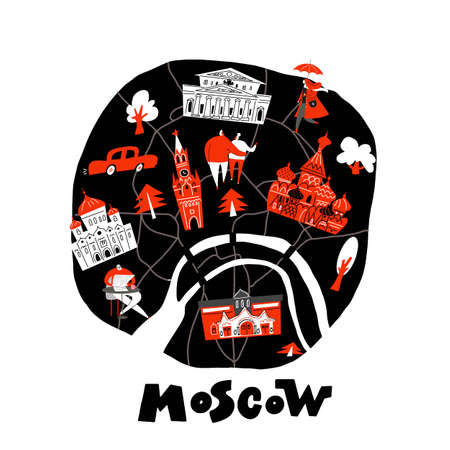 Vector stylized map of Moscow with main attractions and people