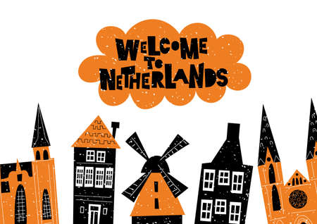 Vector illustration of netherlands architecture and attractions. Welcome to Netherlands. Horizontal greeting card
