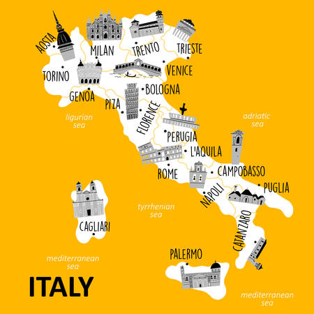 Stylized map of Italy with main attractions and landmarks. Vector illustration Imagens - 145698326