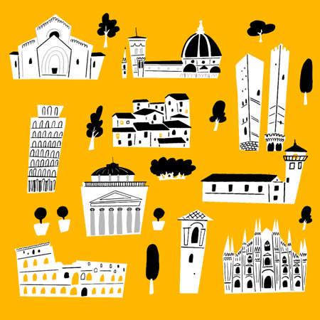 Vector illustration of italian architecture and tourist attraction. Ilustração