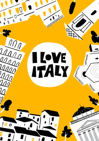 Vector illustration of famous italian architecture and attractions I love Italy. Vertical greeting card. Imagens - 145698329