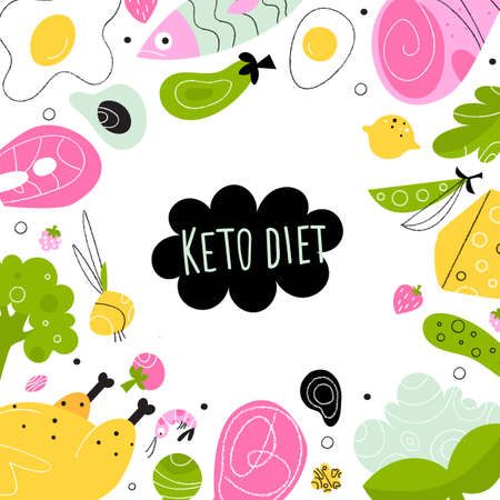 Ketogenic diet. Vector illustration of healthy keto food. Banner, poster template Imagens - 141799485