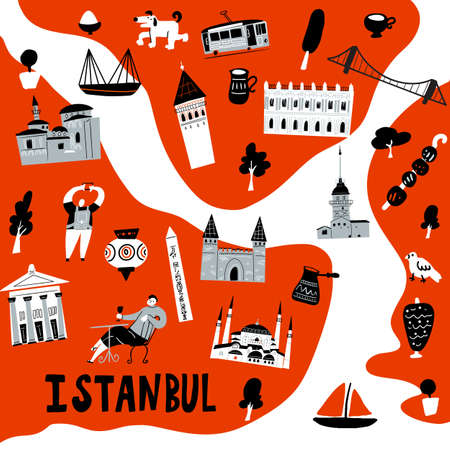 Stylized map of Istanbul. Vector illustration of istanbul attractions and symbols.