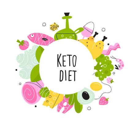 Ketogenic diet. Vector cartoon illustration of healthy keto food