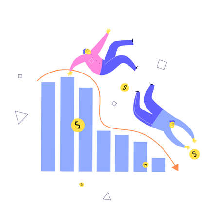 Vector illustration of two men falling from stylized diagram. Investment failure, business collapse, financial crisis concept Illustration